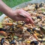 paella aux fruits de mer et poulet