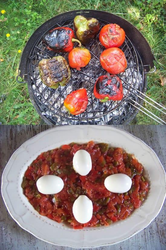 salade mechouia, on fait griller les légumes au barbecue