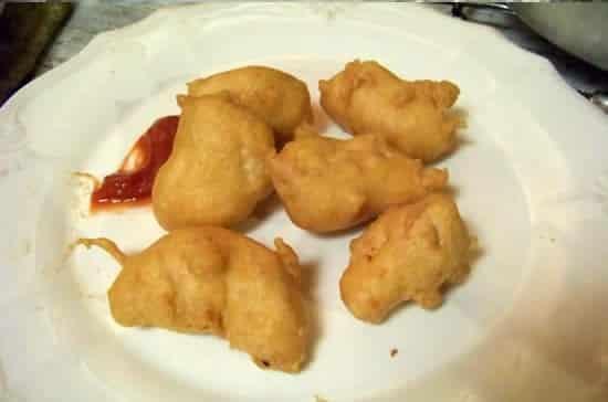 beignets sans gluten, à la farine de pois chiche et au poulet