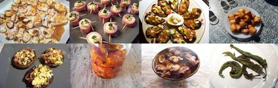 Poulpe à la gallicienne, pinchos aux oeufs de caille, salpicon de moules, feuilletés à la longanisse, champignons farcis, tomates confites, champignons à l'ail et au paprika, piments doux sautés
