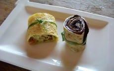 rouleaux d'omelette aux légumes