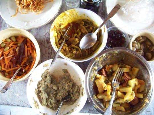 haricots verts, carottes, pommes de terre au chorizo, abergines au sésame