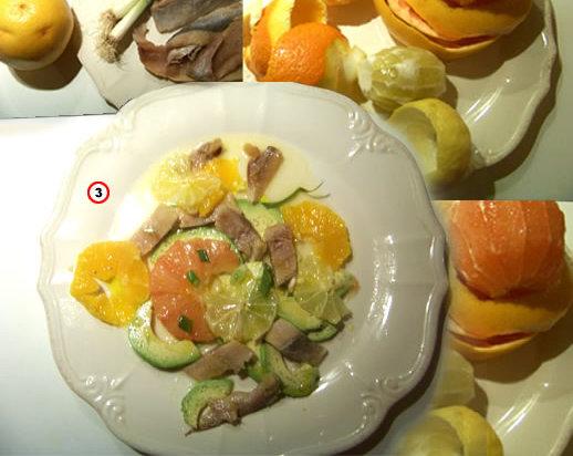 salade de harengs aux agrumes et avocat