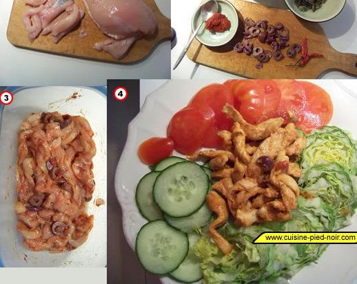 lanières de poulet marinées et sautées à la toscane