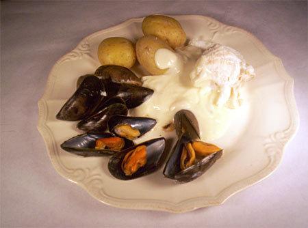Recette filet de poisson aux moules et à la crème d'ail