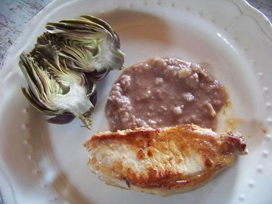 Côtes de porc sauce vinaigrette à lail doux