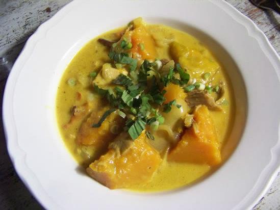 Curry de courge au poulet fumé
