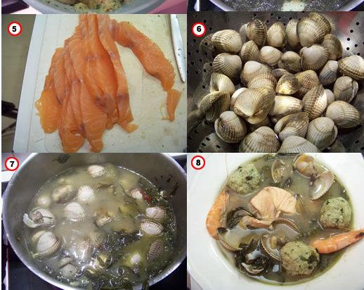 soupe de verdure aux boulettes de poisson et coquillages – la recette