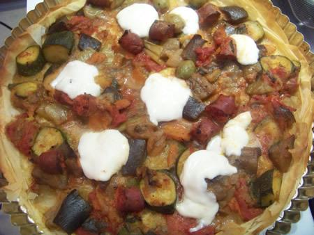 tarte salée aux légumes merguez et mozzarella
