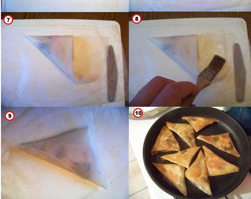 triangles au foie gras, volaille et champignons