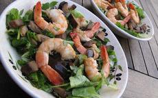 recette de Gambas sur lit de salade