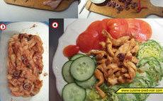 recette de lanières de poulet marinées et sautées à la toscane