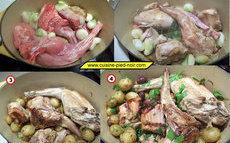 recette de lapin de printemps aux oignons pommes de terre et ail nouveaux