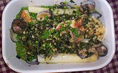 recette de merlu aux palourdes, asperges et petits pois