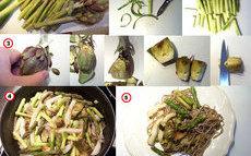 recette de pâtes de sarrasin aux seiches et légumes de printemps