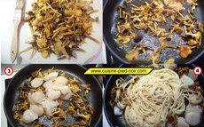recette de spaghetti aux saint-Jacques et champignons des bois