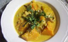 recette de Curry de courge au poulet fumé