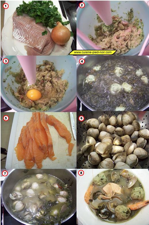 soupe de verdure aux boulettes de poisson et coquillages