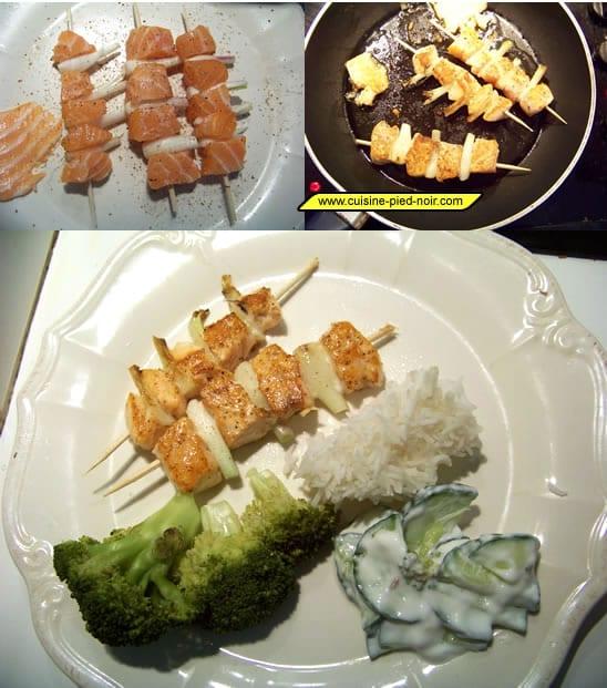 brochettes de saumon aux échalotes et 5 épices