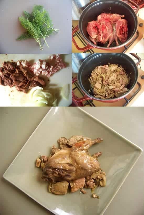 préparation des cailles à la porchetta