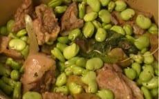 tajine d'agneau aux fèves et artichauts