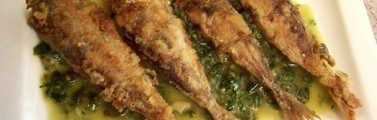 chinchards frits en sauce verte
