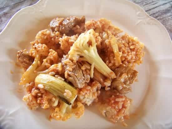 paella au chou-fleur et côtes de porc