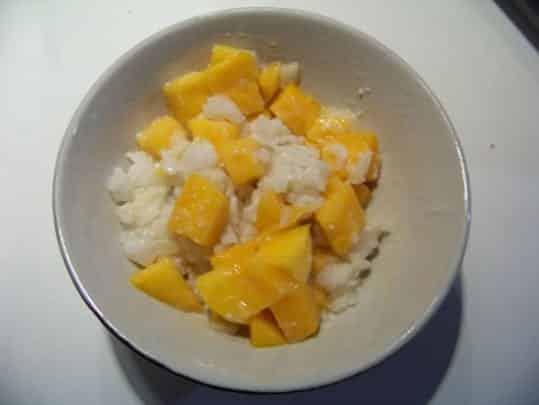 riz au lait de coco à la mangue