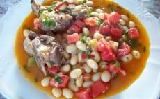 loubia fraîche aux haricots mi-secs et tomates crues